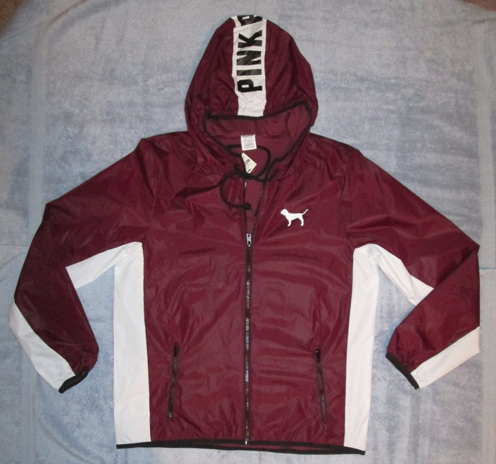 Secret PINK Maroon / White w/ Dog Rain Coat Hoodie Jacket M/L NWT