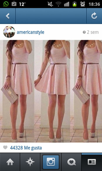 cute shoes fashion dress necklace pink high heels nude date belt lovely