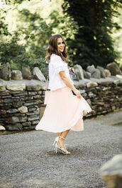 dress corilynn,blogger,skirt,top,shoes,bag,sunglasses,midi skirt,pleated skirt,white top,sandals,high heel sandals,summer outfits