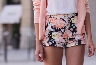shorts floral coral black high waisted