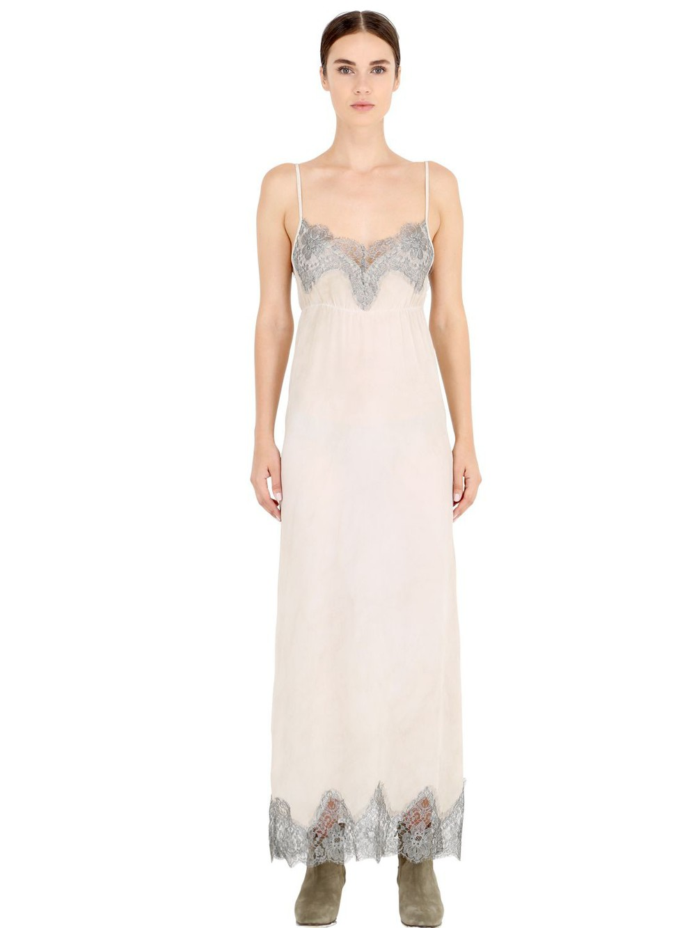5a31b19cf39f PINK MEMORIES Marbled Silk Crepe Dress With Lace in beige / silver / beige