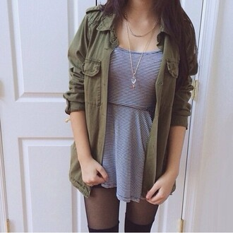 jacket coat military style khaki dress cute dress striped skirt mini dress short sleeve elegant dress
