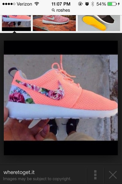uk availability eaa48 3056f shoes nike roshe run floral neon orange pink floral nike free runs pink roshe  runs with