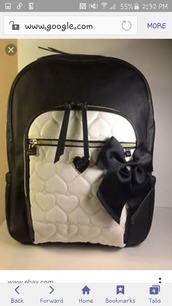 bag,betsey johnson,backpack,black and white,black bow,bow,white,black