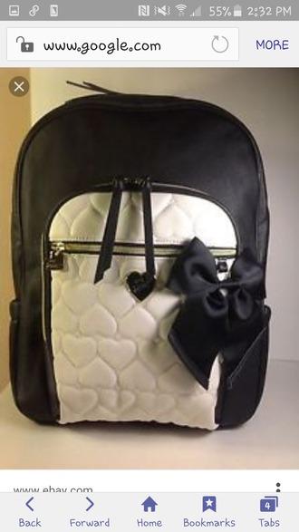 bag betsey johnson backpack black and white black bow bow white black