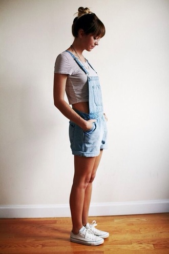 jumpsuit overalls crop tops cute style rustic shorts shoes t-shirt