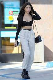 top,crop tops,madison beer,pants,streetstyle,black top