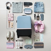 bag,carry on,headphones,suitcase,top,make-up,travel,shoes,converse