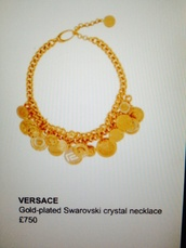 jewels,gold,necklace,statement necklace,versace