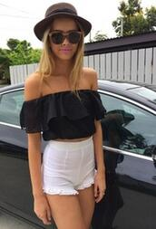 off the shoulder,black top,High waisted shorts,white shorts