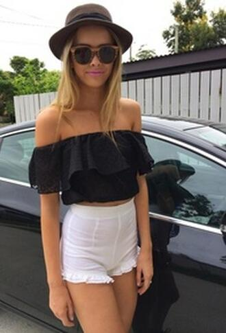 top crop tops black fringed top festival festival look festival top summer top girl tumblr hipster cute girly off the shoulder off the shoulder top high waisted shorts shorts white summer short sleeved pants tights blouse