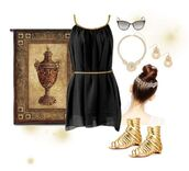 dress,sandals,gold,golden belt,chiffon,summer,lovely,cute,wedding,summer dress,grecian dress,greek style,black,black mini dress,gladiators