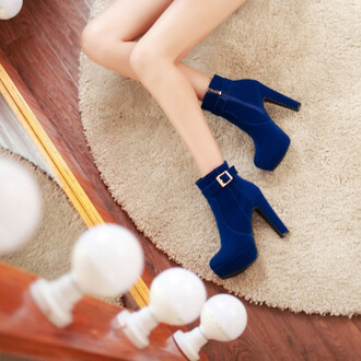 shoes heels blue boots sexy girly fashion style fall outfits winter outfits trendy buckles feminine footwear high heels boots