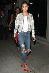 shoes,jeans,jacket,sandals,red sandals,jamie chung,denim,clutch,bag,aquazzura,Aquazzura sandals,high heel sandals,red high heel sandals,blue jeans,ripped jeans,top,white top,striped jacket,spring jacket,red bag,leather clutch,celebrity,celebrity style,Red suede sandals