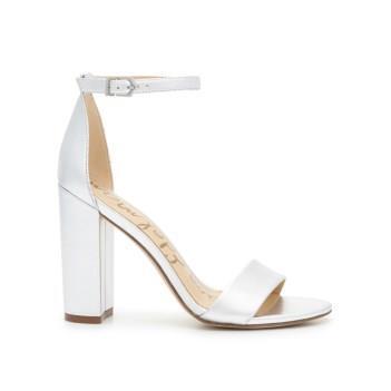 Sam Edelman Yaro Block Heel Sandal Silver Leather
