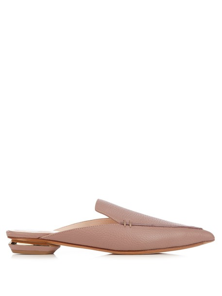 Nicholas Kirkwood backless loafers leather light pink light pink shoes