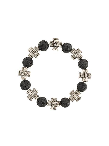 Loree Rodkin cross women beaded silver black grey jewels