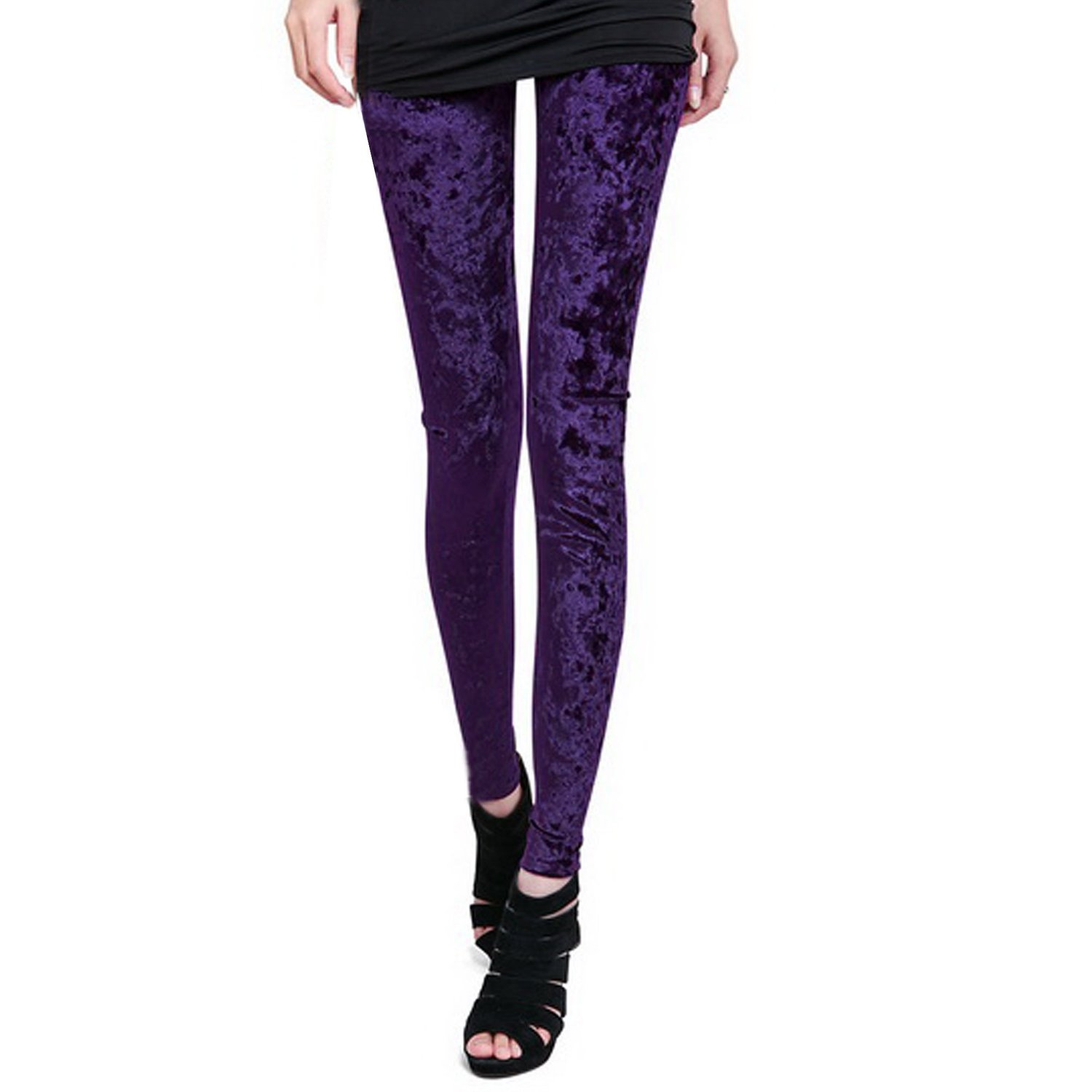 Zeagoo Women's Diamond Velvet Stretch Leggings Purple at Amazon Women's Clothing store: Leggings Pants