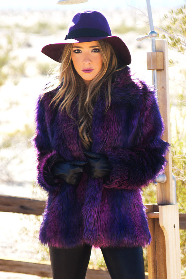 Coat Purple Coat Faux Fur Coat Haute Amp Rebellious Fur