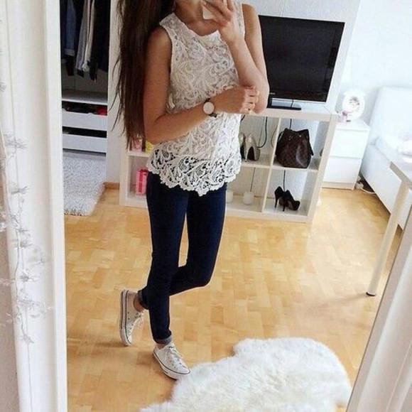 jeans t-shirt converse white t-shirt