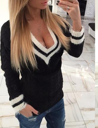 sweater zefinka v neck plunge v neck fall outfits cool autumn/winter urban popular sweater trendy 2015 winter trends denim vneck jumper