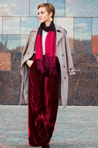 pants grey coat scarf tumblr wide-leg pants wide-leg velvet pants red pants coat fall outfits