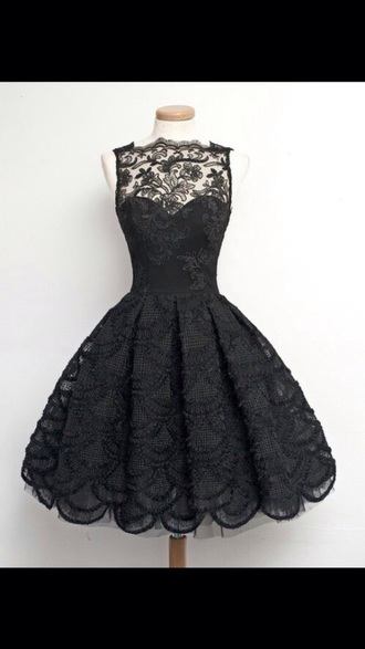 dress black black dress lace dress elegant dress