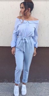 jumpsuit,sky blue,blue,vintage,collared jumpsuit,button down jumpsuit,blue jumpsuit,light blue jumpsuit,romper,blue romper,light blue romper,sky blue romper,off the shoulder,off shoulder jumpsuit,off shoulder romper,fit,outfit,adidas,adidas superstars