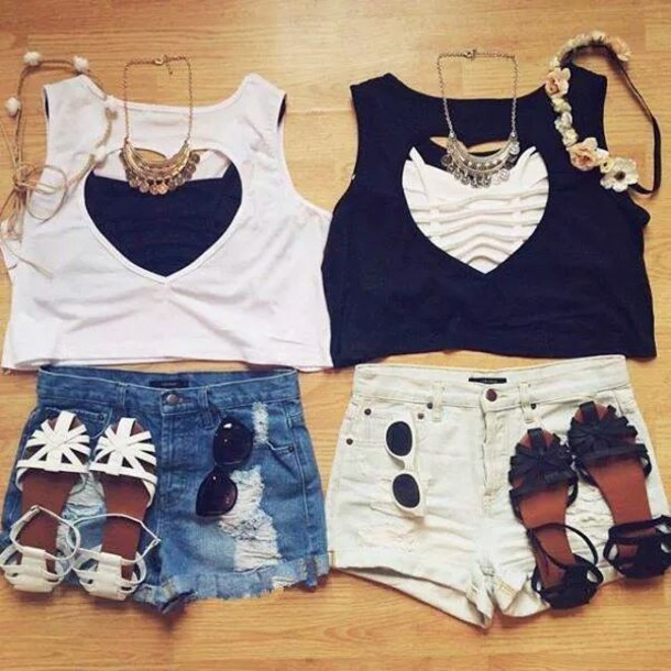 cut out white crop tops summer summer top heart cut out necklace jewelry trends shirt shorts top t-shirt crop tops black white heart shoes jewels