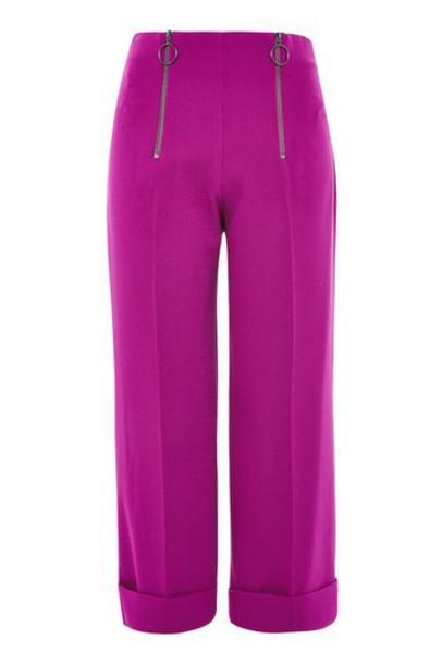 Topshop pants cropped zip purple