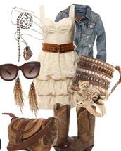 dress,outfit,ivory,shoes,white,white dress,lace dress,necaklace,bracelets,ring,cowboy boots,earrings,purse,sunglasses,denim jacket,tan dress,belted dress