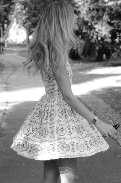 dress lace dress white dress blue vintage blonde hair lace skater dress print white pattern grey dress grey blonde hair cute skater dress watch sunglasses