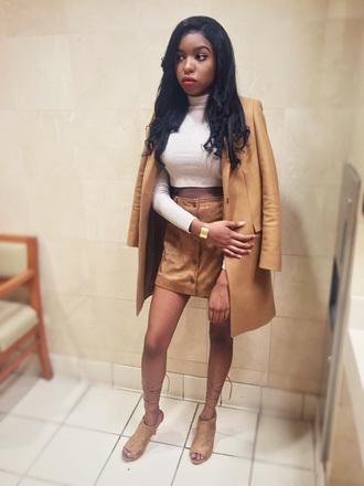 tank top coat winter coat skirt nude heels pumps top blouse crop tops shirt t-shirt mini skirt brown jewels jewelry