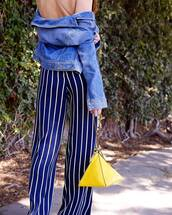 pants,reformation,blue pants,wide-leg pants,bag,yellow,yellow bag,stripes,striped bag,jacket,denim jacket,denim