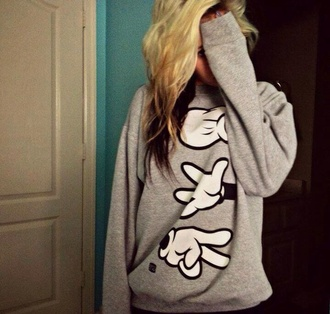 sweater winter sweater grey sweater grey disney mickey mouse mickey micky mouse hands mickey hands hands clothes cute jacket