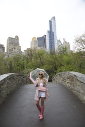 atlantic pacific,blogger,pink coat,chanel bag,white top,white shorts,boots,umbrella
