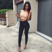 top,cream,pretty,style,pants,leggings,jeans,high,waist,high waisted,high waisted pants,shirt,black skin tight pants,blouse,tank top,shoes,bag,swag,crop tops,cropped turtleneck,nude top