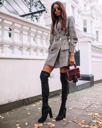 coat high heels boots tumblr plaid plaid coat boots black boots over the knee bag handbag fall outfits round sunglasses sunglasses