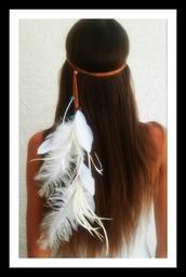 hair accessory,feathers,headband,bridal,wedding,boho,bohemian,gypsy,grunge,hair,Pocahontas,native american,gold feather headband,hippie,hipster
