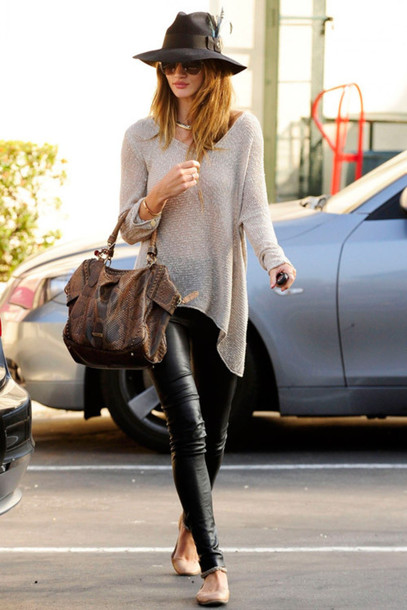 leather pants rosie huntington-whiteley model streetstyle hat oversized sweater top
