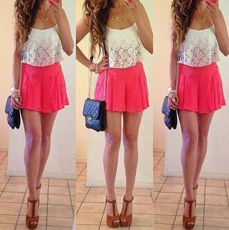 shirt lace white pink skirt brown high heels black side bag gold necklace dress