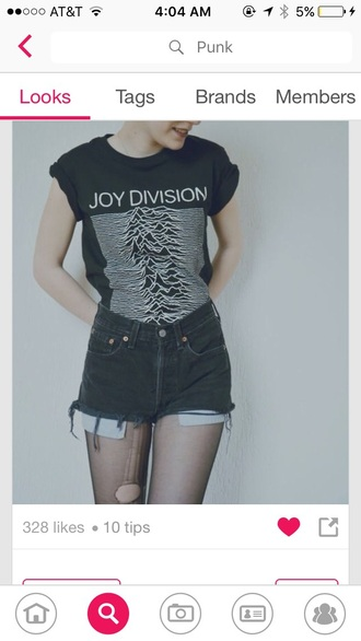 t-shirt joy division black shorts all black everything grunge t-shirt