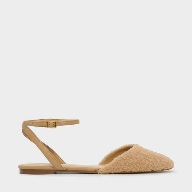 ankle strap flats camel shoes
