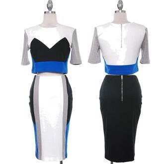 dress dress set colorblock skirt set short sleeve party date outfit girls night exposed zipper tight bodycon crop top designer junior