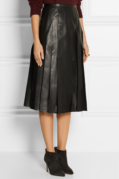 Pleated leather and silk
