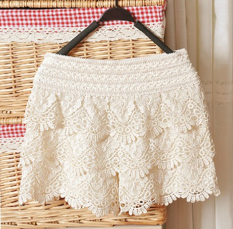 Beige Hollow Lace Shorts on Luulla