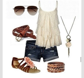 tank top country style ruffled summer summer outfits cute
