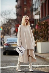 bag,balenciaga,white boots,clutch,furry pouch,sweater,nude,all nude everything,nude sweater,skirt,asymmetrical,asymmetrical skirt,boots,streetstyle