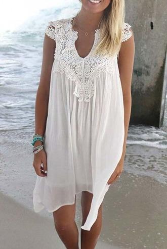 dress girl girly girly wishlist white white dress lace crochet cute