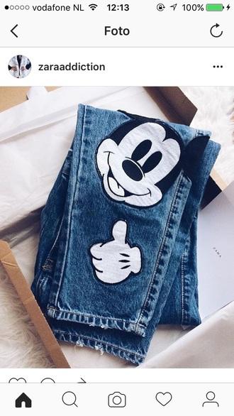 jeans mickey mouse mouse mickey mouse jeans pants blue denim white black disney